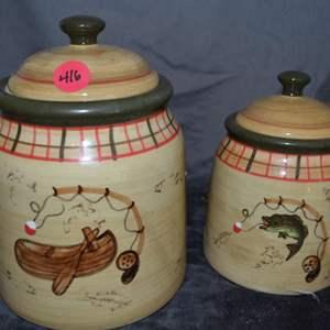 Lot # 416 TWO JARS WITH LIDS, FISHING THEME