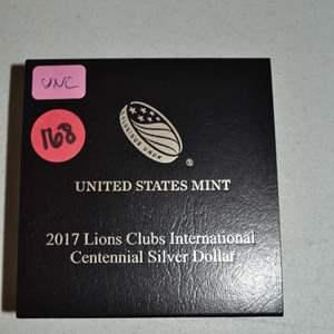 Lot # 168 2017 UNITED STATES MINT LIONS CLUB INTERNATIONAL CENTENNIAL UNCIRCULATED SILVER DOLLAR