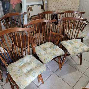 Lot # 554 Incredible!  Antique Whitney Comb Back Maple Dining Chairs - Set of 6