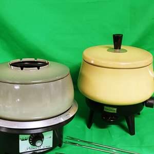 Lot #21 2 Vintage Fondue Pots