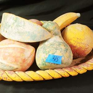 Lot #45 Vintage Alabaster Stone Fruit Basket