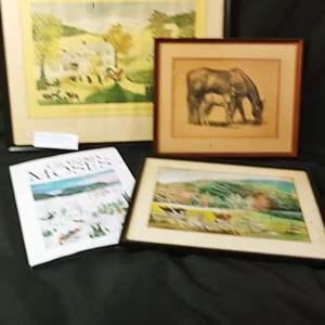 Auction Thumbnail for: Lot # 74 Grandma Moses Print, Book & More