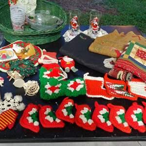 Lot # 181 Vintage Items & Crochet Stockings