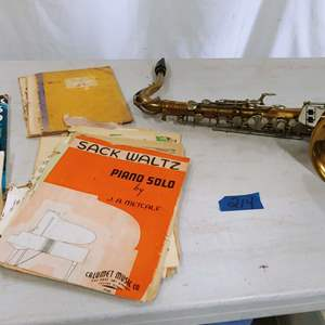 Lot # 214 Vintage Saxophone & Sheet Music