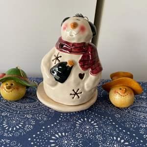 Lot # 5 Snowman Votive Candle Holder & Ornaments