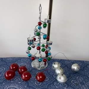 Lot # 10 Christmas Tree w/ LED Tea Lights & Metal Bell Ornaments