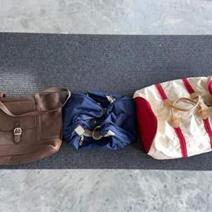Lot # 12 Vintage LL Bean Duffle Bag, Leather Tote & Gym Bag