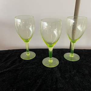 Lot # 40 Green Uranium Glass Wine Glasses (3)