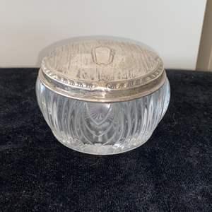 Lot # 41 Vintage Trinket Jar w/ Sterling Silver Lid