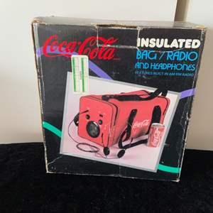 Lot # 50 Vintage Coca-Cola Insulated Bag/Radio & Headphones