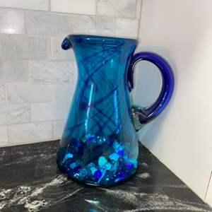 "Lot # 83 Beautiful Blue Blown Glass Pitcher 11"""