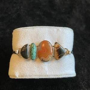 Lot # 123 Beautiful Sterling Silver Bracelet w/ Stones
