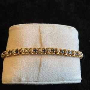 Lot # 125 Stunning 10K Gold Diamond & Sapphire Tennis Bracelet TW 11.4g Marked See Description