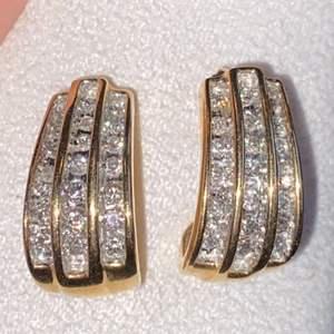 Lot # 127 Gorgeous 14K Gold Diamond Earrings TW 7.7g Marked (no backs) See Description