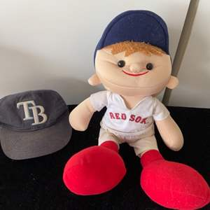 Lot # 141 Red Sox Doll & Rays Hat