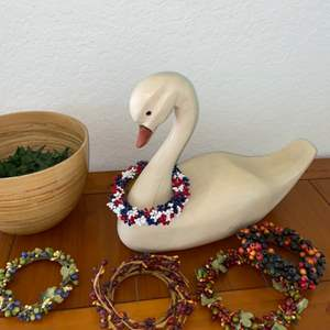 Lot # 199 Wood Swan w/ Different Necklaces & Bowl