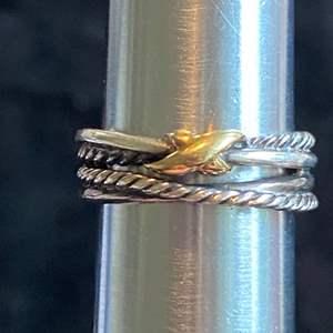Lot # 206 David Yurman 18k Gold & Sterling Crossover Ring TW 4.9g Sz 6.75 Signed
