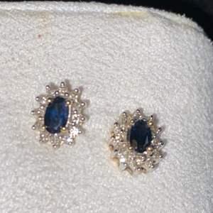 Lot # 207 Beautiful 14K Gold Sapphire & Diamond Earrings TW 1.6g