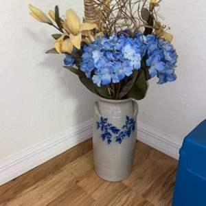 Lot # 220 Salmon Falls Stoneware Floor Vase w/ Floral Decor