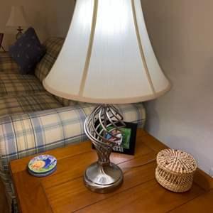 Lot # 223 Pretty Silver Metal Table Lamp w/ Shade - Nice!