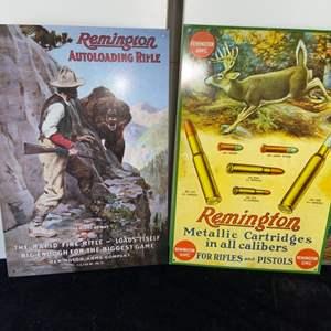 Lot # 238 Vintage Inspired Remington Metal Signs