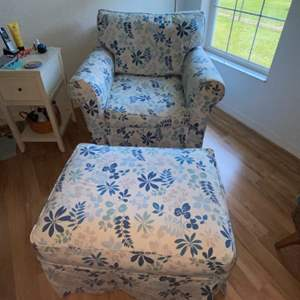 Lot # 250 Beautiful Chair & Ottoman w/ Custom Made Slip Covers