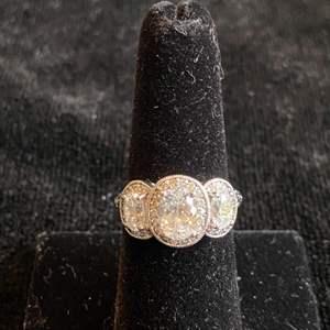 Lot # 290 Beautiful Tacori CZ Sterling Silver Ring Sz 7 signed