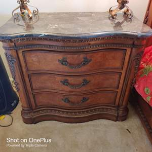 280 large three-drawer nightstand with faux marble top 38 in wide 33 tall 18 deep