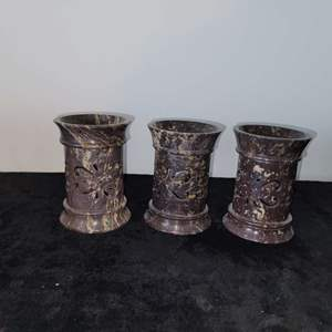 Lot # 3 (3) Marble Candleholders
