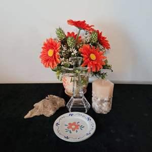 Lot # 4  Faux Flowers Bouquet, Candle Holder & More