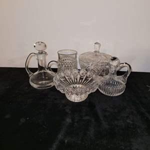 Lot # 7 Assorted Glass Bowls, Oil & Vinegar Cruets & More