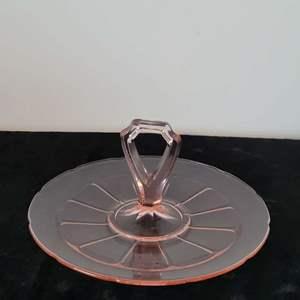 Lot # 12 Vintage Pink Center Handle Tidbit Platter - Nice!
