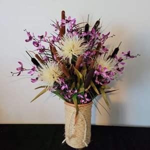 Lot # 14 Gorgeous Faux Bouquet w/ Terracotta Vase