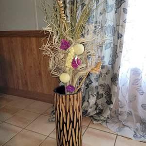 Lot # 21 Wood Vase w/ Faux Flowers