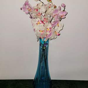 Lot # 23  Gorgeous Vintage Blue Viking Glass Vase w/ Faux Flowers