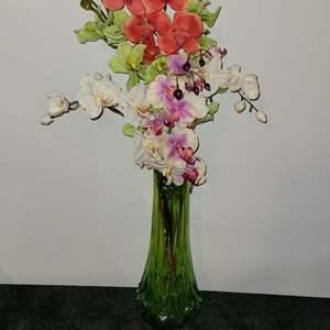 Lot # 24  Gorgeous Vintage Green Viking Glass Vase w/ Faux Flowers