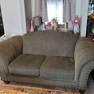 Lot # 30 Nice Over Stuffed American Furniture Loveseat w/ Studding Detail