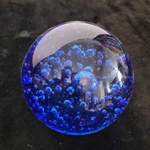 Lot # 39 Blue Blown Glass Paperweight