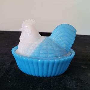Lot # 51 Vintage Westmoreland Hen on Nest 2 Piece Milk Glass - Pretty!