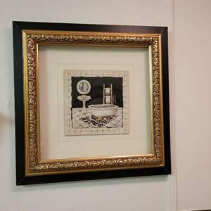 """Lot # 54 Cute Picture of Bathroom - Signed  C. Olson - 12"""" Square"""