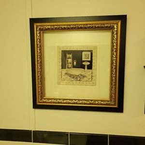 """Lot # 55 Cute Picture of Bathroom - Signed  C. Olson - 12"""" Square"""