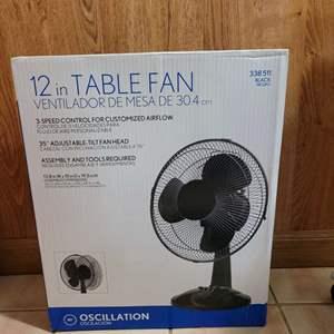 """Lot # 77 New in Box 12"""" Table Fan"""