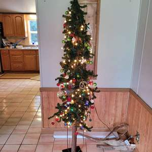 Lot # 98 Faux Christmas Tree w/ Lights and Ornaments