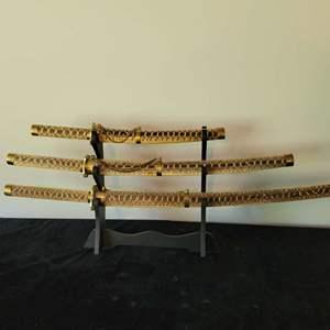 Lot # 103 Three Piece Saber Set w/ Stand - Nice!