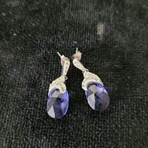 Lot # 115 Pretty Pierced Sterling Silver Earrings w/ Purple Stones
