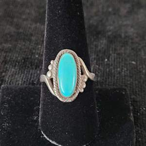 Lot # 116 Ladies Sterling Silver Ring w/ Turquoise Stone Size 8.25 - Marked