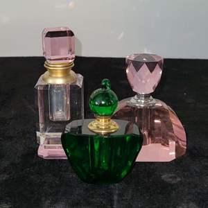 Lot # 122 (3) Crystal Perfume Bottles w/ Glass Applicator