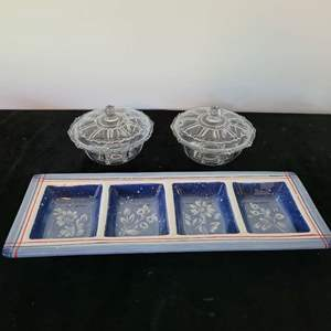 Lot # 136 Divided Dish & 2 Candy Dishes