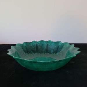 """Lot # 137 Beautiful Turquoise Glass Bowl 11"""""""