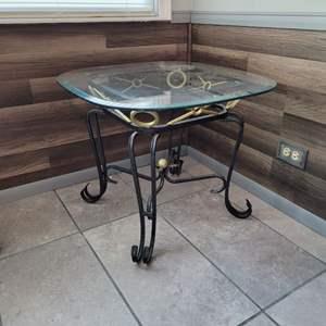 Lot # 180 Glass Top Side Table w/ Metal Base